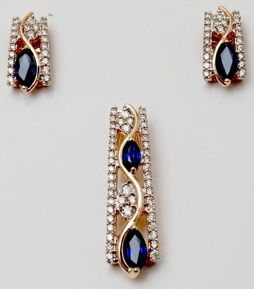 Diamond tanzanite gemstone earring pendant set