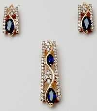 diamond tanzanite gemstone earring pendant set