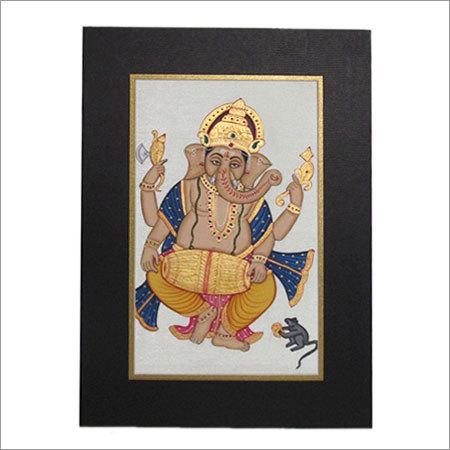 Dancing Ganesha On Art Silk