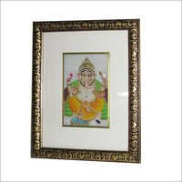 Blessing Ganesha Hand Painting On Marble Tile