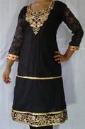 Designer Cotton Anarkali Embroidery Golden Neck