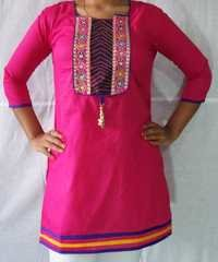 Designer Cotton Kurti 2 Lace Stitch and Hanging