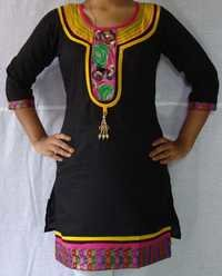 Designer Cotton Kurti U Neck with Lace and hanging