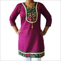 Designer Cotton Kurti 2 Lace U Neck Hanging