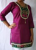 Designer Cotton Kurti 2 Lace U Neck Hanging