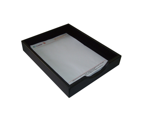 Black Leather Letter Tray