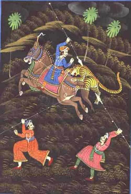 TIGER HUNTING ON HORSE