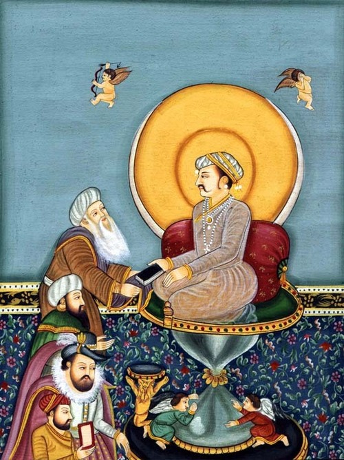 jahangir enthroned on an hourglass