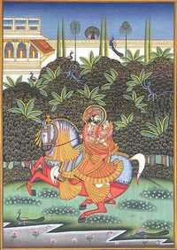 In the grove on the horseback marwar art of india