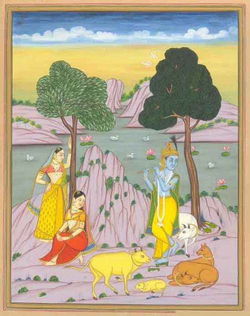 Krishna playing flute in the forest