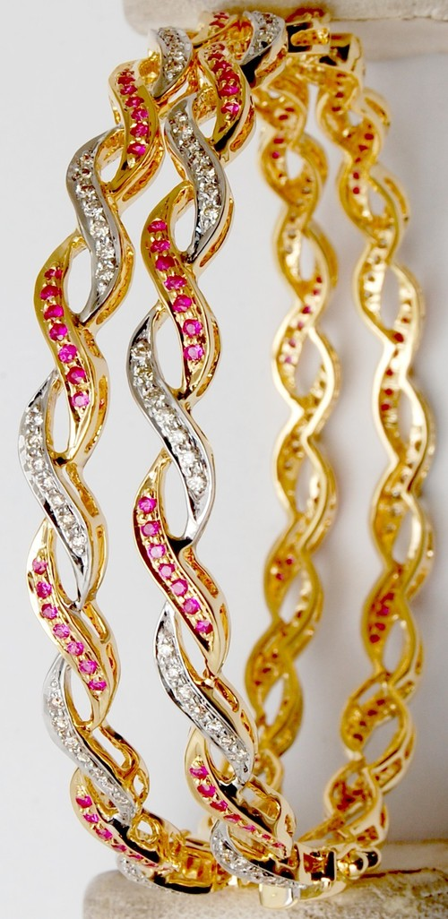 exclusive pave setting ruby gemstone bangle