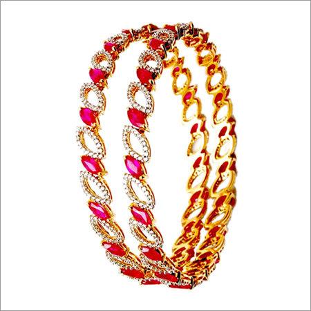 ruby gemstone leaf pattern diamond studded bangle