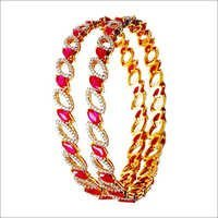 ruby gemstone leaf pattern diamond studded bangle