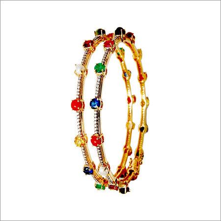 prong setting navratna gold diamond bangle