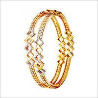 sparkling gold bangle prong setting diamond