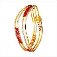 prong setting ruby gemstone diamond bangle