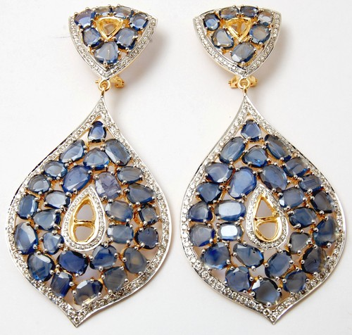 unique style blue sapphire gemstone earring jewerly