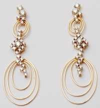 ladies beautiful diamond gold earring jewelry