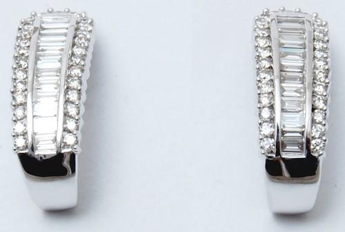 Newest white gold diamond baguette stud earring design