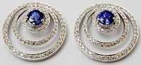 white gold blue gemstone diamond earing