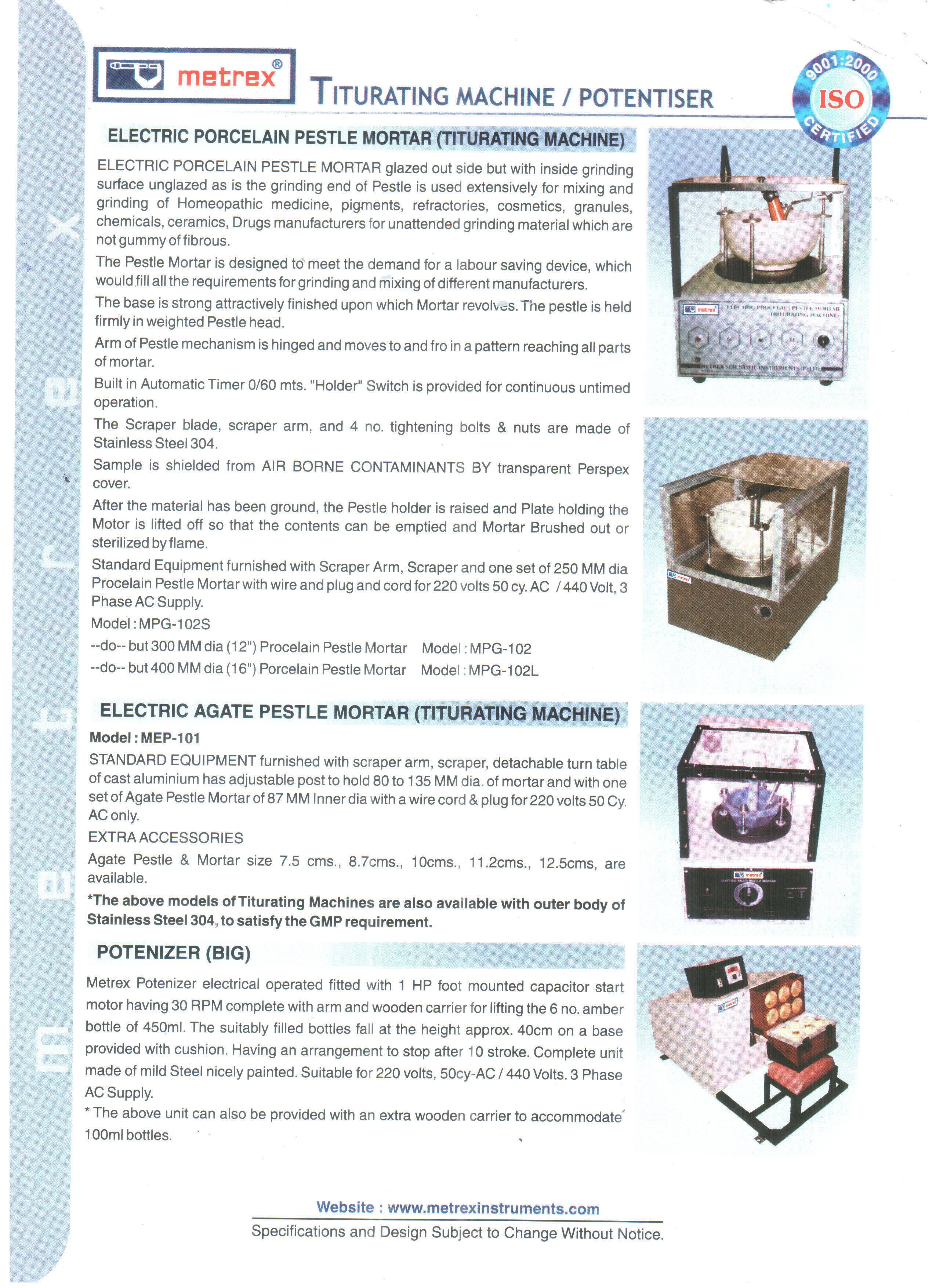 Titurating Machine / Electric Pestle Mortar