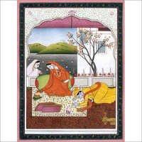 Shree Krishna bowing down before radha
