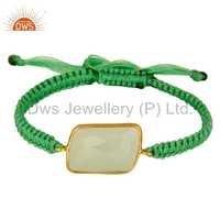 Green Chalcedony Gold Vermeil Macrame Bracelet