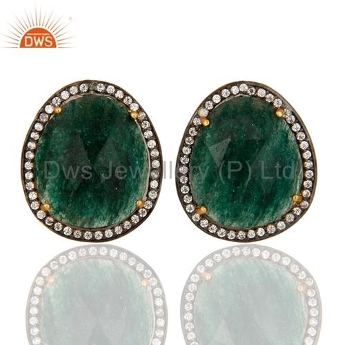 Gold Plated Silver Green Aventurine Earrings
