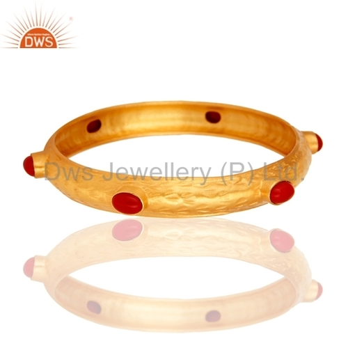 Sterling Silver Bangle With Gold Plated