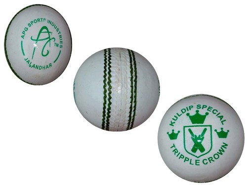 APG White Leather Cricket Ball