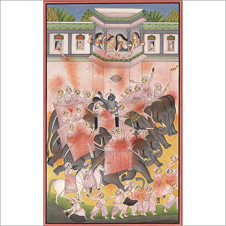 The month of  phalguna bundi miniature painting