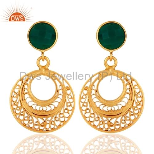 Green Onyx 18k Gold Plated Earrings