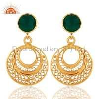 Green Onyx 18k Gold Plated Earrings