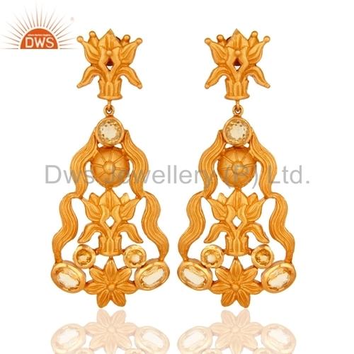 18K Gold-Plated Sterling Silver Citrine Earrings