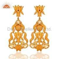 18K Gold-Plated Sterling Silver Citrine Earrings