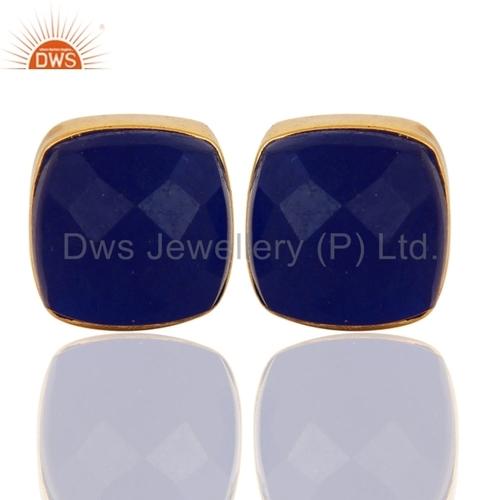 Blue Aventurine 18K Gold Plated Brass Earrings