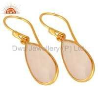 Rose Chalcedony Gold Plated Sterling Silver Earrings