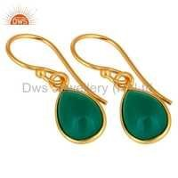 Green Onyx Gold Plated Sterling Silver Earrings