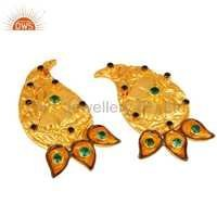 18K  Gold Plated Emerald Green CZ Earring