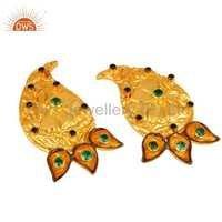 18K  Gold Plated Emerald Green CZ Earring
