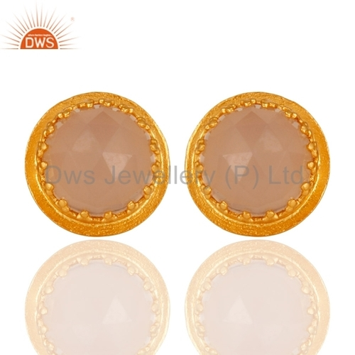 Crown Design Gold Plated Silver Rose Chalcedony Stud Earrings Jewelry
