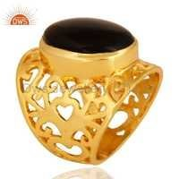 18k Gold Plated  Smoky Quartz Ring