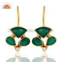 Brass CZ Green Onyx Gemstone Earring Jewelry