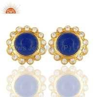 CZ Aventurine Gemstone Designer Fashion Stud Earrings Jewelry