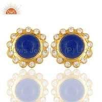 CZ Aventurine Stone Brass Stud Earring Jewelry