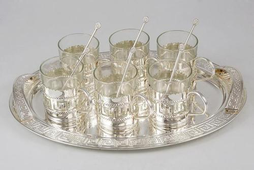 SILVER PLATED TRAY WITH GLASS SET