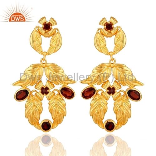 Garnet 14K Gold Plated Brass Earrings