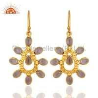 14K  Gold Plated Hydro Amethyst Brass Earrings