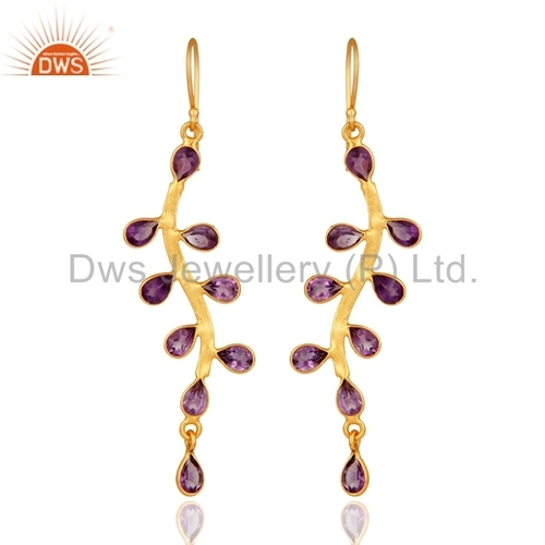 Gold Plated Brass Amethyst Earrings