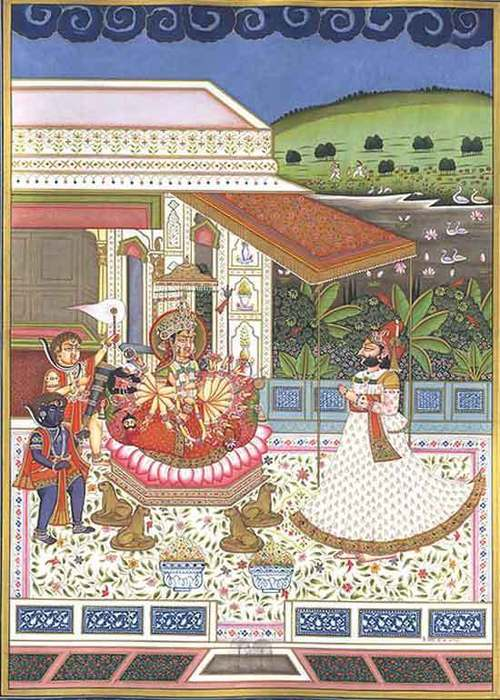 Adroration of durga attended  by two bhairavas rajput painting